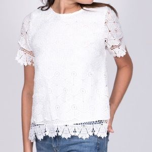 Off White Eyelet Top. Size Medium